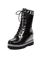 Women's Pu Mid Top Animal-Print Lace Up High Heels Boots