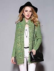 / Diaria simple verde cardigansolid regulares ocasional de las mujeres Sybel