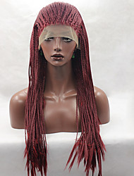 Fashion Long Straight Braids Synthetic Lace Front Wig Glueless Red Color Women Wigs