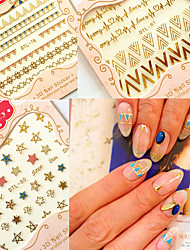 estilo Bohemia 3d manicure nomes ouro apliques em vinil autocolante