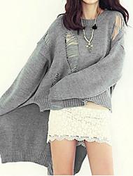 Damen Standard Pullover-Lässig/Alltäglich Einfach Solide Beige / Grau Rundhalsausschnitt Langarm Wolle / Baumwolle Herbst Mittel