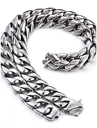 Kalen® 316L Stainless Steel 61cm Long Cuban Link Chain Heavy Chunky Necklace Men's Costume Accessories Jewelry