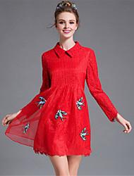 AUFOLI Plus Size Women Vintage Gauze Lace Embroidery Bird Loose Solid Pleat Long Sleeve A-Line Dress