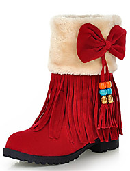 Women's Shoes Chunky Heel Round Toe Tassel Bowknot Ankle Bootie with Fur More Color Available