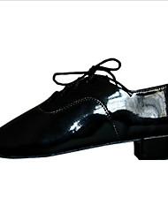 Non Customizable Men's Dance Shoes Leatherette Leatherette Latin Flats Chunky Heel Practice / Performance Black