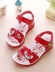 Girl's Sandals Spring / Summer / Fall Sandals PU Outdoor / Casual Flat Heel Bowknot Blue / Pink / Red Walking