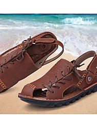 Men's Sandals Summer Sandals / Flats Cowhide Outdoor Flat Heel Lace-up Tan / Khaki Others