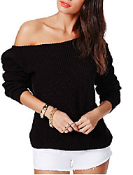 Women's Casual/Daily Simple / Street chic Regular PulloverSolid Boat Neck Long Sleeve Cotton / Rayon