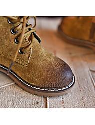 Черный / Желтый / Зеленый-Мужской-Для прогулок / Для занятий спортом-Кожа-На танкетке-Военные ботинки-Ботинки
