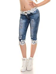 Women's Solid Blue Jeans PantsVintage