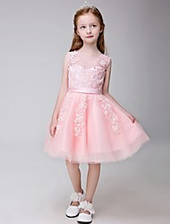 Ball Gown Knee-length Flower Girl Dress - Tulle Jewel with Appliques
