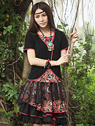 Our Story Going out Vintage Summer T-shirtEmbroidered Round Neck Short Sleeve Black Cotton / Spandex Medium