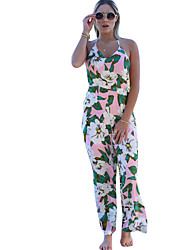 Women's Floral White JumpsuitsSexy Strap Sleeveless