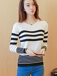 Women's Casual/Daily Cute Regular PulloverColor Block White / Black Round Neck Long Sleeve Polyester Fall