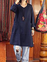 A tunica Vestito Da donna-Casual Semplice Tinta unita Rotonda Al ginocchio Mezze maniche Blu Lino Primavera / Estate A vita medio-alta
