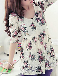 Women's Casual/Daily Simple Spring / Summer / Fall Blouse,Floral U Neck ½ Length Sleeve White / Black Thin