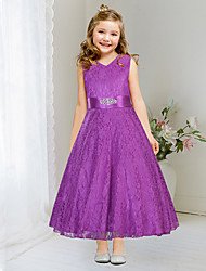 Ball Gown Tea-length Flower Girl Dress - Lace / Satin Sleeveless V-neck with Lace / Sash / Ribbon