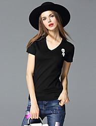 frmz женщин вскользь / сут простой летом T-shirtsolid v шеи короткий рукав черный хлопок / спандекс среда