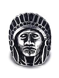 Indians Rock Retro Drawing Titanium Steel Men's Ring