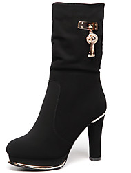 Women's Boots Spring / Fall / Winter Fashion Boots Fur Party & Evening / Casual Chunky Heel Black / Red