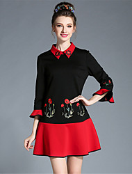 AUFOLI Autumn Women Large Size Retro Embroidery Color Block 3/4 Flare Sleeve Patchwork Ruffle Dress