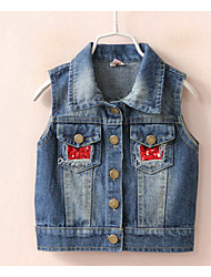 Girl's Going out Embroidered VestLinen Fall Blue