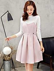 Wake Up Women's Stand Long Sleeve Above Knee Dress-TZ16162
