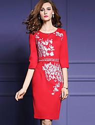 Damen Hülle Kleid-Party/Cocktail / Übergröße Chinoiserie Stickerei Rundhalsausschnitt Knielang ¾-Arm Rot Kunstseide / Polyester / Elasthan