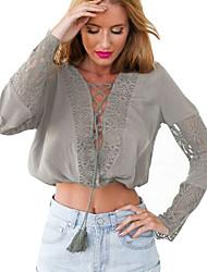 Damen Solide Einfach Lässig/Alltäglich T-shirt,Tiefes V Herbst Langarm Weiß / Grau Baumwolle Undurchsichtig / Dünn