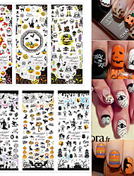 3pcs Halloween Water Transfer Decal Stickers Nail Art Tips AllHallow'sDay Decoration Ghost Bat Skull Witch Death