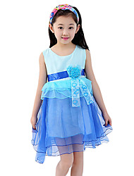 Girl's Casual/Daily Jacquard DressCotton Summer Blue / Pink