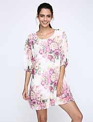 Women's Round Neck Flower Dress , Chiffon Above Knee ½ Length Sleeve