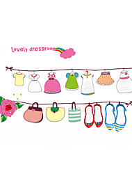 Wall Stickers Wall Decals Style Funny Cartoon Clothes Line PVC Wall Stickers