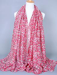 Women's Fashion Voile Floral Print Cotton Vintage Scarf Pink/Khaki/Red/Fuchsia/Gray/Black/Royal Blue (180*100CM)