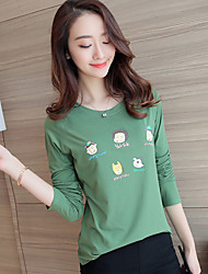 Sign # 1811 cotton long-sleeved t-shirt women autumn 2016 new student sweet wild loose T-shirt printing compassionate