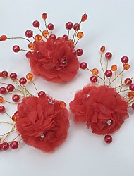 Women's Alloy / Acrylic / Fabric Headpiece-Wedding / Special Occasion / Casual Flowers 3 Pieces