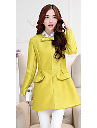 Sign 2015 Autumn explosion models Korean women bow Slim round neck long-sleeved and long sections windbreaker jacket Ms.