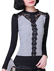 Normal Pullover Femme Décontracté / Quotidien simple,Mosaïque Gris Col Roulé Manches Longues Nylon Automne Moyen Micro-élastique