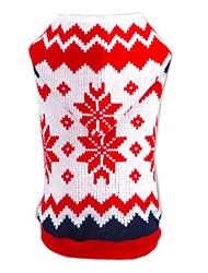 Chat / Chien Pull / Pulls à capuche Rouge Vêtements pour Chien Hiver / Printemps/Automne Motif de flocon de neige Noël / Nouvel An