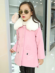Girl's Casual/Daily Embroidered Down & Cotton Padded / Suit & BlazerWool / Polyester Winter Pink / Red