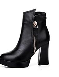 Damen-Stiefel-Lässig-Leder-Blockabsatz-Komfort-Schwarz
