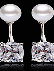S925 silver after hanging Pearl Drop Earrings zircon super flash