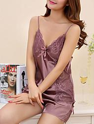 Ultra Sexy Vêtement de nuit Femme,Sexy Couleur Pleine-Mince Viscose Noir Blanc Rose Violet Jaune Gris