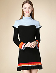 Women's Casual/Daily Vintage Sweater Dress,Solid Turtleneck Above Knee Long Sleeve Black Cotton Winter High Rise Micro-elastic Thin