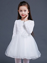 A-line Knee-length Flower Girl Dress - Lace Satin Tulle Jewel with Flower(s) Pearl Detailing