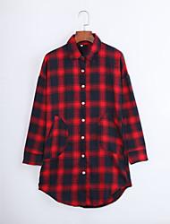 Women's Going out Street chic Fall Shirt,Plaid Shirt Collar Long Sleeve Red Cotton Medium