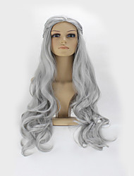 Grey Color Curly Synthetic Wigs For Afro Women