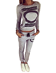 Women's Sports Active Fall Set Pant Suits,Print Round Neck Long Sleeve Gray Polyester Medium