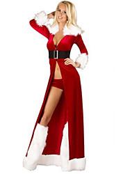 Fantasias de Cosplay Ternos de Papai Noel Cosplay de Filmes Vermelho Cor Única Vestido / Cinto / Calções Natal Feminino Poliéster