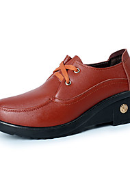 Women's Oxfords Fall Winter Comfort Leatherette Casual Low Heel Lace-up Black Red Orange